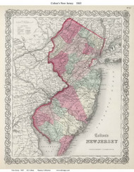 New Jersey 1865 Colton - Old State Map Reprint