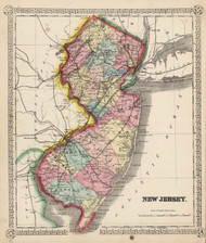 New Jersey 1865 Schonberg - Old State Map Reprint