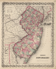 New Jersey 1866 Colton - Old State Map Reprint
