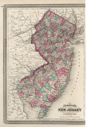 New Jersey 1870 Johnson - Old State Map Reprint