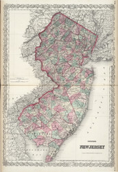 New Jersey 1874 Colton - Old State Map Reprint