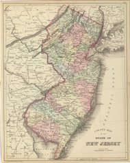 New Jersey 1882 Mitchell - Old State Map Reprint