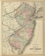 New Jersey 1886 Mitchell - Old State Map Reprint