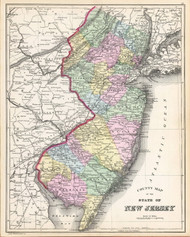 New Jersey 1887 Bradley - Old State Map Reprint
