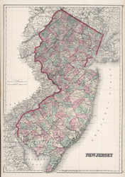 New Jersey 1888 Colton - Old State Map Reprint
