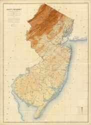 New Jersey 1888 Cook - Old State Map Reprint