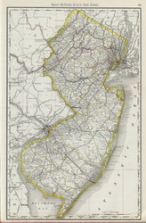 New Jersey 1889 Rand McNally - Old State Map Reprint