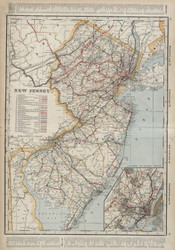 New Jersey 1901 Cram - Old State Map Reprint