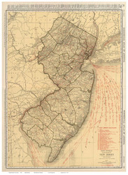 New Jersey 1924 Rand McNally - Old State Map Reprint
