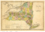 New York State 1825 Bouchon - Old State Map Reprint