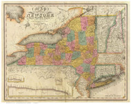 New York State 1832 Burr - Old State Map Reprint