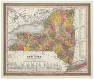 New York State 1846 Mitchell - Old State Map Reprint