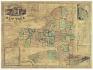 New York State 1849 Ensigns & Thayer - Old State Map Reprint