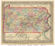 Pennsylvania 1870 Mitchell - Old State Map Reprint