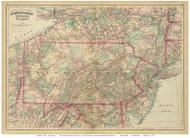 Pennsylvania 1874 Asher & Adams - Old State Map Reprint