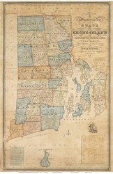 Rhode Island 1831 Stevens - Old State Map Reprint