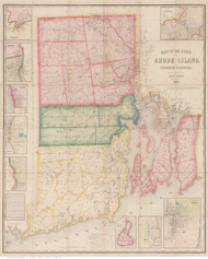 Rhode Island 1855 Walling - Old State Map Reprint