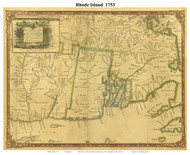 Rhode Island 1753 Douglass - Old State Map Reprint