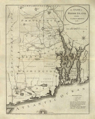 Rhode Island 1796 Reid - Old State Map Reprint