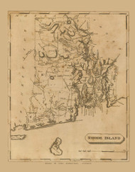 Rhode Island 1812 Arrowsmith - Old State Map Reprint