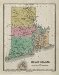 Rhode Island 1831 Finley - Old State Map Reprint