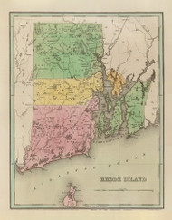 Rhode Island 1838 Bradford - Old State Map Reprint
