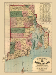 Rhode Island 1880 Tilden - Old State Map Reprint