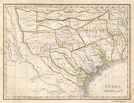 Texas 1835 Bradford - Old State Map Reprint