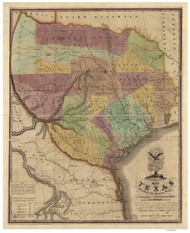 Texas 1837 Tanner - Old State Map Reprint