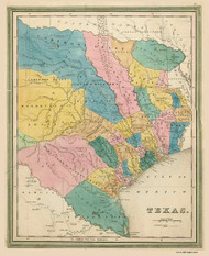 Texas 1839 Bradford - Old State Map Reprint