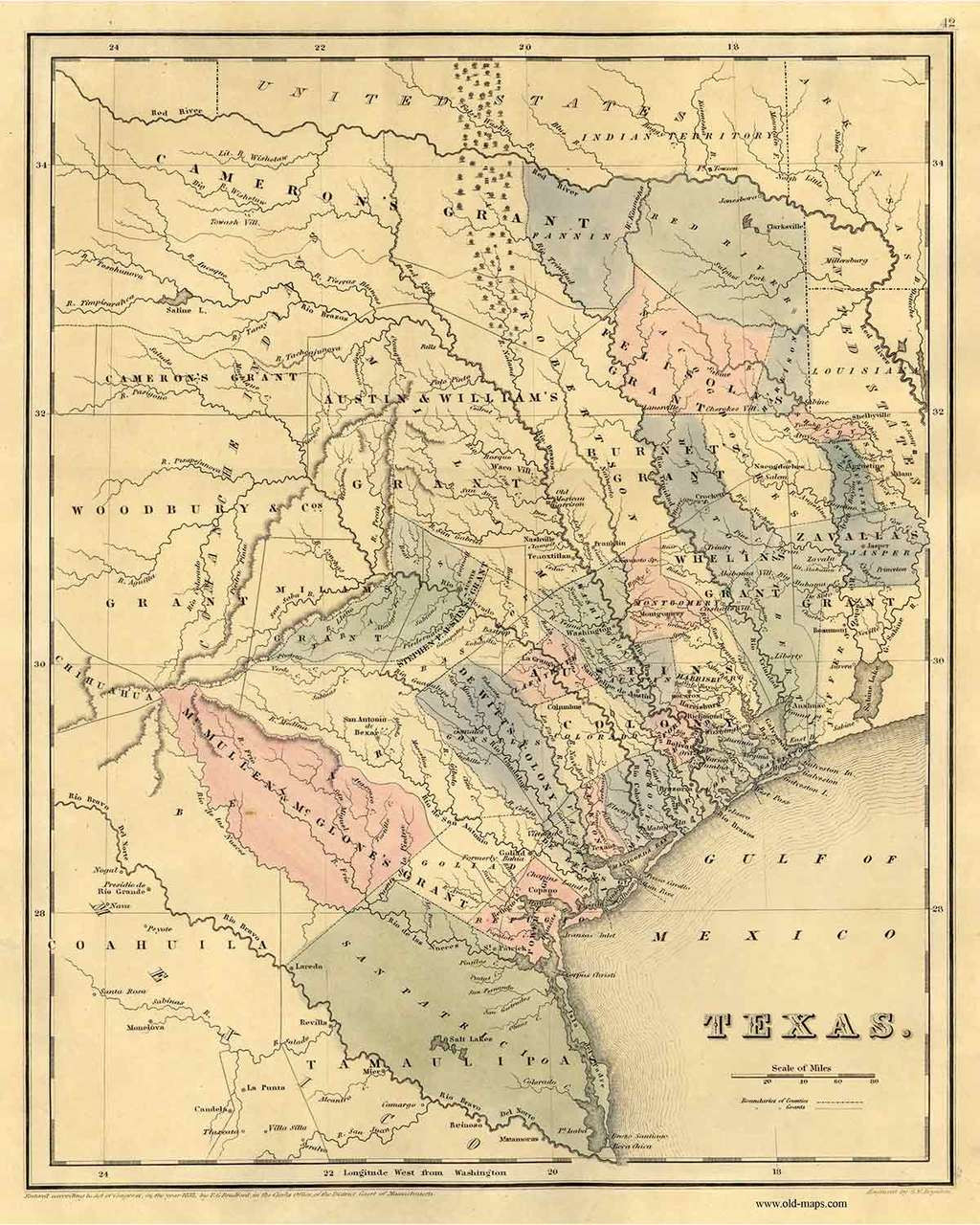 Old Map Of Texas.Texas 1839 Bradford Pastel Colors Old State Map Reprint