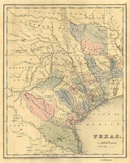 Texas 1839 Bradford - Pastel Colors - Old State Map Reprint