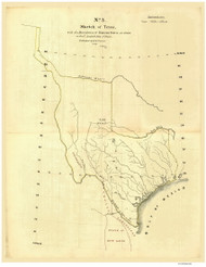 Texas 1839 Gilman - Old State Map Reprint