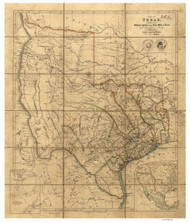 Texas 1841 Arrowsmith - Old State Map Reprint