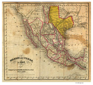 Texas 1842 Folsom - Old State Map Reprint
