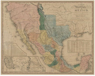 Texas 1846 Tanner - Old State Map Reprint