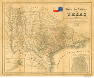 Texas 1849 Badeker - Old State Map Reprint