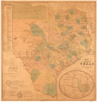 Texas 1853 DeCordova - Old State Map Reprint