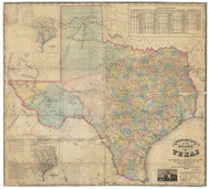 Texas 1858b Pressler - Old State Map Reprint