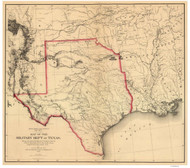 Texas 1859 Warren - Old State Map Reprint