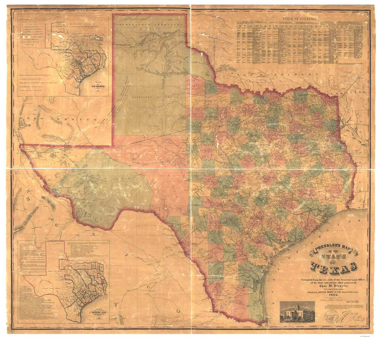 Old Map Of Texas.Texas 1862 Pressler Old State Map Reprint