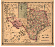 Texas 1866 Schonberg - Old State Map Reprint