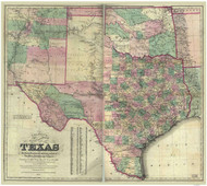 Texas 1872 Colton - Old State Map Reprint