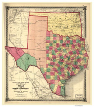 Texas 1875 Lloyd - Old State Map Reprint