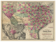 Texas 1881 G.W. & C.B. Colton - Old State Map Reprint