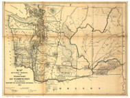 Washington Territory 1866 Wilson - Old State Map Reprint