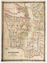 Washington Territory 1870 White - Old State Map Reprint