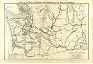 Washington State 1915 Washington State Highway Commission - Old State Map Reprint