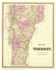 Vermont State Map 1869 - from the Bennington Co. Beers Atlas - Old Map Reprint