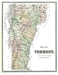 Vermont State Map 1869 - from the Rutland Co. Beers Atlas - Old Map Reprint